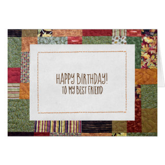 patchwork quilt pattern for Friend's birthday Card