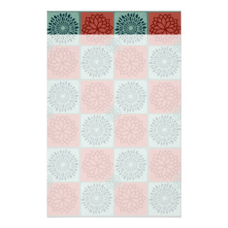 Patchwork Quilt Pattern Red Blue Flower Art Design Personalized Stationery