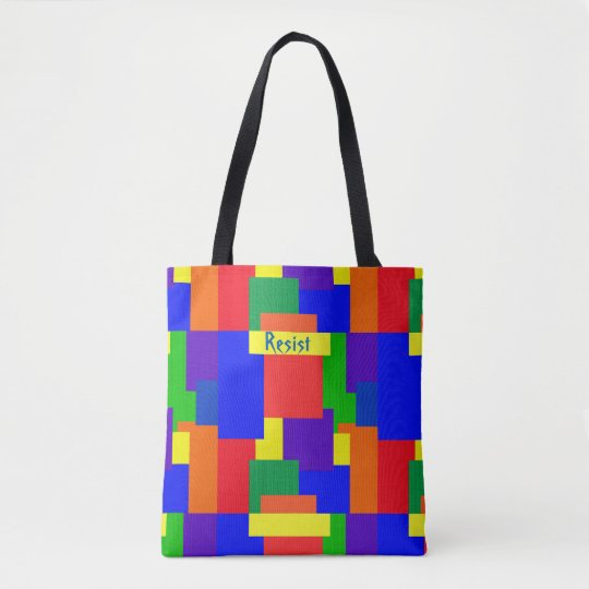Patchwork Quilt Rainbow Resist Design Tote Bag