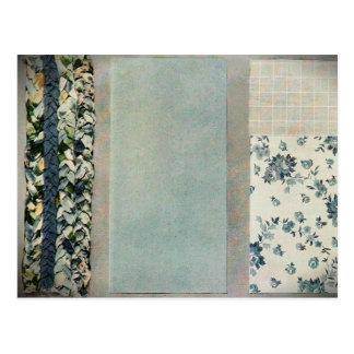 Patchwork Quilt Recipe Card in Blue
