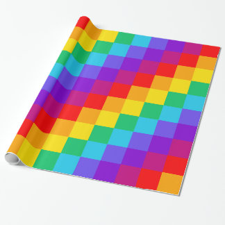Patchwork Rainbow Glossy Wrapping Paper