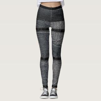 Patchwork Ripped Denim Skinny Jeans Leggings