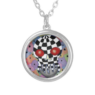 Patchwork Skull Silver Plated Necklace