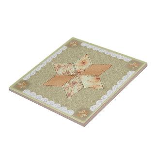 Patchwork Star Quilt Block Tile