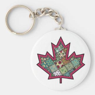 Patchwork Stitched Maple Leaf 01 Basic Round Button Keychain