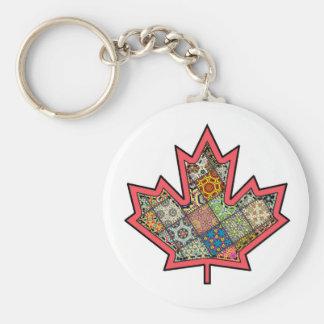 Patchwork Stitched Maple Leaf  2 Basic Round Button Keychain