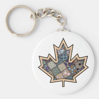Patchwork Stitched Maple Leaf  3 Basic Round Button Keychain
