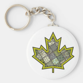 Patchwork Stitched Maple Leaf  6 Basic Round Button Keychain