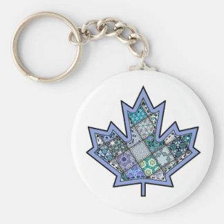 Patchwork Stitched Maple Leaf  8 Basic Round Button Keychain