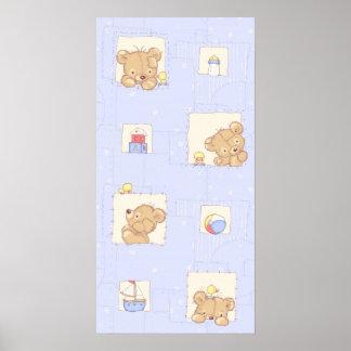 Patchwork Teddy Bear Poster