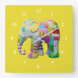 Patchwork  toy elephant kids room square wall clock