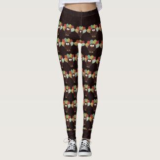 Patchwork Turkey Pattern with Rich Swirly Brown Leggings