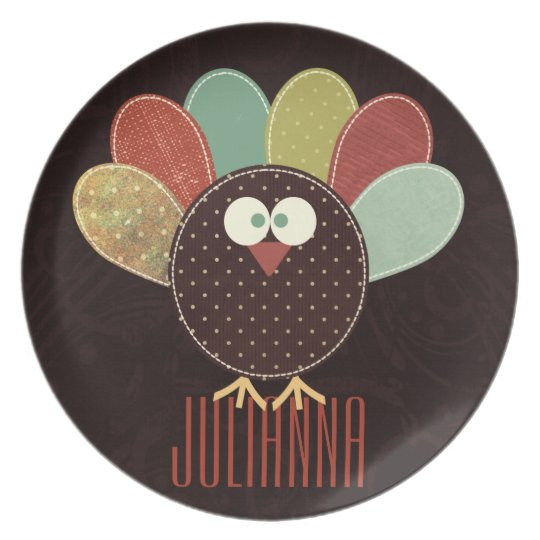 Patchwork Turkey with Custom Name Thanksgiving Plate