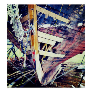 Patchwork Wooden Ship Poster