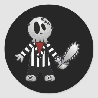 PATCHY CHAINSAW HALLOWEEN SKELETON ROUND STICKER