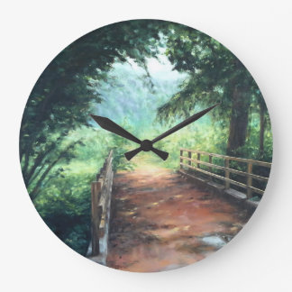Path across to landscape of nature large clock