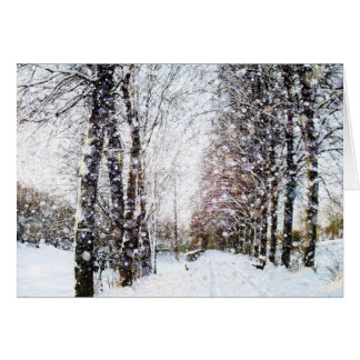 Path and Trees in Snow Landscape Card