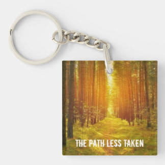 Path Less Taken Double-Sided Square Acrylic Keychain