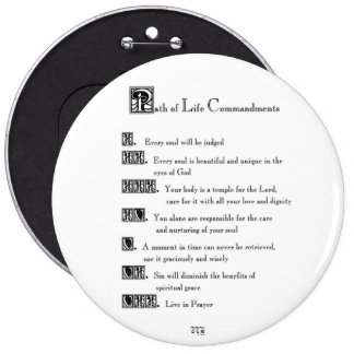 Path of Life Commandments 6 Inch Round Button