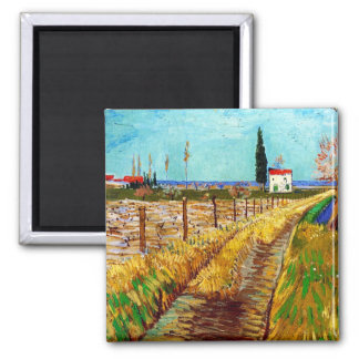 Path through a Field with Willows Van Gogh Square Magnet