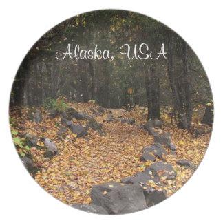 Path Through the Forest; Alaska Souvenir Party Plate