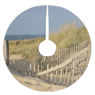 Path through the sand dunes to the beach brushed polyester tree skirt