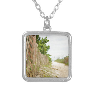 Path to Bliss on Florida Beach Silver Plated Necklace