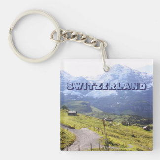 Path to snow mountain Single-Sided square acrylic keychain