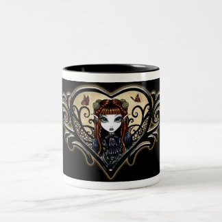 """Patience"" Black Tribal Heart Faery Mug"