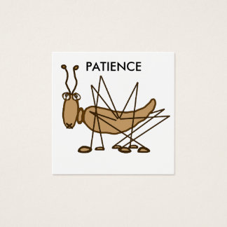 Patience grasshopper cartoon insect square business card
