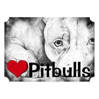 "Patiently Waiting (heart pitbulls) 5"" X 7"" Invitation Card"