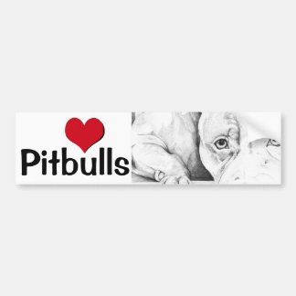 Patiently Waiting (heart pitbulls) Bumper Sticker