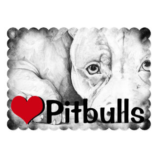 Patiently Waiting (heart pitbulls) 5x7 Paper Invitation Card