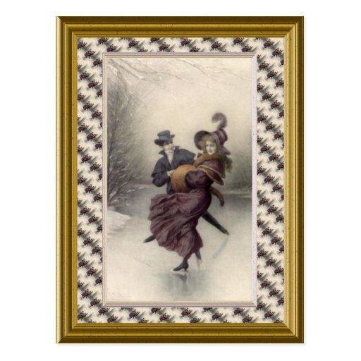 Patinage victorien de couples carte postale
