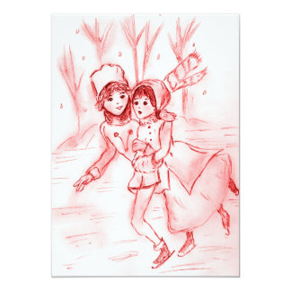 Patineurs démodés dans l'invitation rouge de Noël Carton D'invitation 12,7 Cm X 17,78 Cm