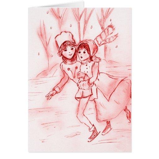 Patineurs démodés en rouge cartes de vœux