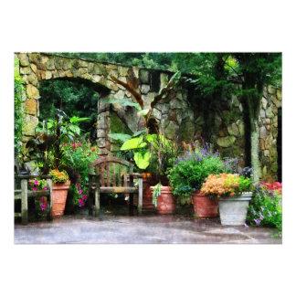 Patio Garden in the Rain Personalized Announcement