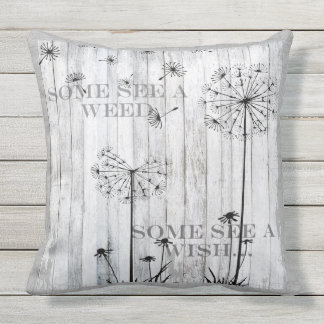 Patio Pillow Dandelion Wishes Dreamy Grey Quote