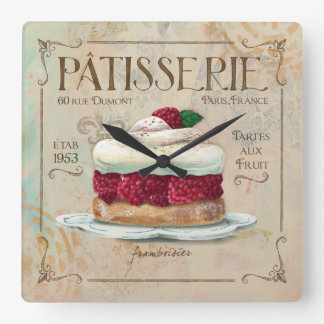"Patisserie Clock, ""Frambosier"" Square Wall Clock"