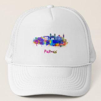 Patras skyline in watercolor trucker hat