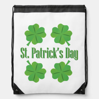 Patrick's Day with clover Drawstring Bag