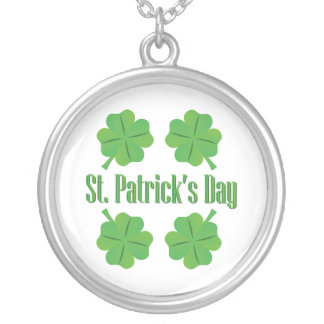 Patrick's Day with clover Silver Plated Necklace