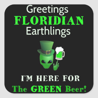 Patrick's Day Greetings Floridians! Square Sticker