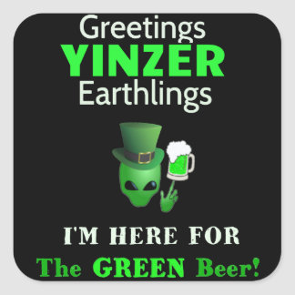 Patrick's Day Greetings Yinzers Square Sticker