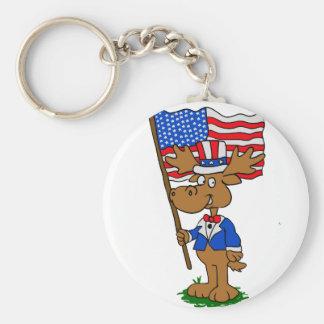 Patriot Moose Keychain