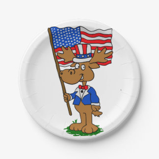 Patriot Moose Paper Plate