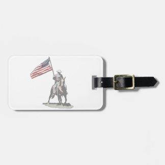 Patriot on horseback travel bag tag