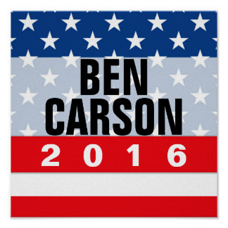 Patriot Stars Ben Carson for President 2016 Poster