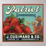 Patriot Strawberries Vintage Fruit Crate Label Art Poster