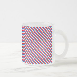 Patriot Stripes 10 Oz Frosted Glass Coffee Mug
